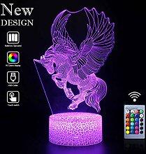Einhorn 3D Illusion Lampe Led Nachtlicht mit 16