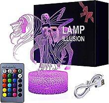 Einhorn 3D Illusions Lampe,Nachtlicht 7 Farben