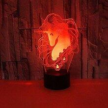 Einhorn 3D Lampe 7 Farbe LED Nachtlampen Für