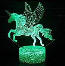 Einhorn 3D Lampe LED Nachtlicht 7 Farbwechsel