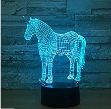 Einhorn 3D Nachtlicht 7 Farbwechsel 3D Led Tisch