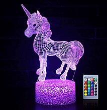Einhorn-3D-Nachtlichter, optische Täuschung, LED,