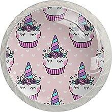 Einhorn Cupcake Rosa Küchenknopf Klarglasschrank