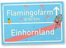 Einhorn Flamingo Kunststoff Schild, Ortsschild -