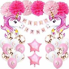 Einhorn Geburtstagsdeko Mädchen 1 Jahr, Aivatoba