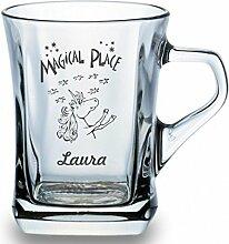 Einhorn-Glastasse mit Deinem Namen