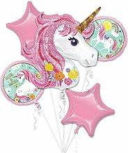 Einhorn-Luftballon Regenbogen-Bouquet, Motto Party