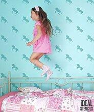 Einhorn Mädchen Schlafzimmer Schablone. Einhorn MUSTER Maßgeschneidert Tapete Malerei. Wohndeko Schablone. Wandfarbe Stoff & Möbel Wiederverwendbar - halb transparent schablone, S/see images/16x25cm
