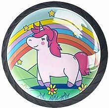Einhorn mit magischen Regenbogen-runden Knäufen,
