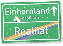 Einhorn Schild - Einhornland, grünes Ortsschild / Ortstafel, Süße Wand-Deko, Türschild Mädchen Wohnung, Geschenkidee und Geburtstagsgeschenk - beste Freundin