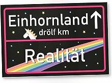 Einhorn Schild - Einhornland, schwarzes Ortsschild / Ortstafel, Süße Wand-Deko, Türschild Mädchen Wohnung, Geschenkidee und Geburtstagsgeschenk - beste Freundin