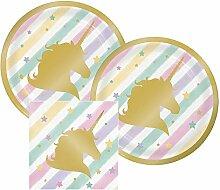Einhorn Sparkle Papier Dessert Teller und