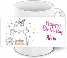 Einhorn-Tasse mit Namen Alina und schönem Motiv