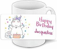 Einhorn-Tasse mit Namen Jacqueline und schönem