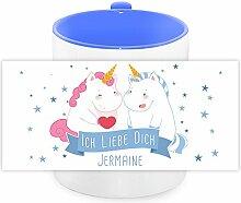 Einhorn-Tasse mit Namen Jermaine und schönem