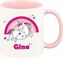 Einhorn Tasse mit Namen (personalisiert - rosa Tasse) - Kaffeebecher - Geschirr Geschenkidee für Mädchen Familienmitglied/- Weihnachtsgeschenk Geschenk Geburtstagsgeschenk ausgefallen originell