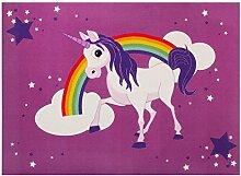 Einhorn Teppich Kinder Sterne Mädchen Spielteppich WASCHBAR Anti-Rutsch 95x133cm