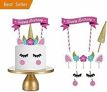 Einhorn Tortendekoration, Kindergeburtstag Deko Einhorn Kuchen Deko DIY Geburtstag Dekoration für Mädchen und Jungen Jeden Alters