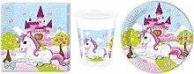 Einhorn Unicorn Pony Set Party Deko Tischgeschirr