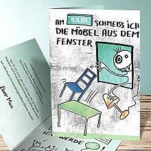 Einladung 30 Geburtstag, Schmeiss die Möbel 175 Karten, Vertikale Klappkarte 105x148 inkl. weiße Umschläge, Grün