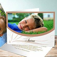 Einladung Einschulung, Federmappe 130 Karten, Horizontale Klappkarte 148x105 inkl. weiße Umschläge, Braun