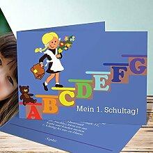 Einladung Einschulung mit Foto, Schulmädchen 35 Karten, Horizontale Klappkarte 148x105 inkl. weiße Umschläge, Blau