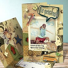 Einladung Einschulung, Schlampermäppchen 10 Karten, Vertikale Klappkarte 105x148 inkl. weiße Umschläge, Grün