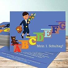 Einladung Einschulung selbst gestalten, Schulkind 25 Karten, Horizontal einfach 148x105 inkl. weiße Umschläge, Blau