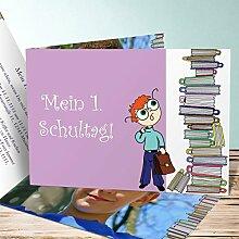 Einladung Einschulung Vorlagen, Leseratte 25 Karten, Horizontale Klappkarte 148x105 inkl. weiße Umschläge, Lila