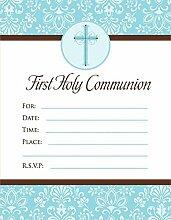 Einladung Kommunion blau