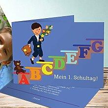 Einladung Schulanfang selbst gestalten, Schulkind 40 Karten, Horizontale Klappkarte 148x105 inkl. weiße Umschläge, Blau