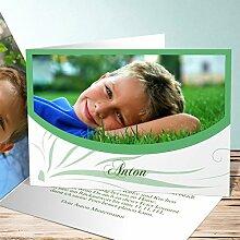 Einladung Schuleinführung, Federmappe 70 Karten, Horizontale Klappkarte 148x105 inkl. weiße Umschläge, Grün