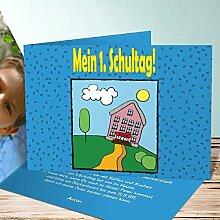 Einladung Schuleinführung, Schulanfänger 30 Karten, Horizontale Klappkarte 148x105 inkl. weiße Umschläge, Blau