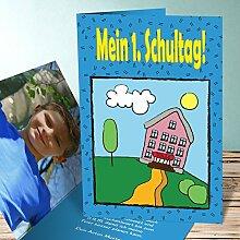 Einladung Schuleinführung, Schulanfänger 30 Karten, Vertikale Klappkarte 105x148 inkl. weiße Umschläge, Blau