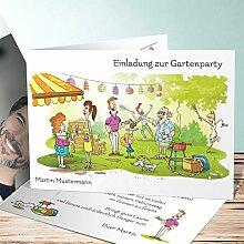 Einladung zum 50 Geburtstag, Garten BBQ 40 Karten, Horizontale Klappkarte 148x105 inkl. weiße Umschläge, Weiß