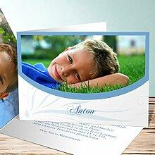 Einladungen Schulanfang, Federmappe 50 Karten, Horizontale Klappkarte 148x105 inkl. weiße Umschläge, Blau