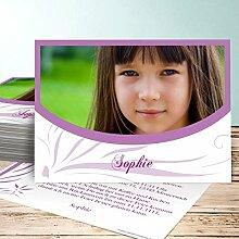 Einladungen Schulanfang, Federmappe 70 Karten, Horizontal einfach 148x105 inkl. weiße Umschläge, Lila