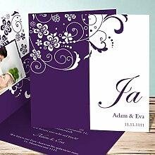 Einladungskarten Hochzeit, Garten der Träume 20 Karten, Quadratische Klappkarte 145x145 inkl. weißer Umschläge, Lila