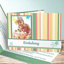 Einladungskarten Kindergeburtstag mit Foto, Blümchen 15 Karten, Horizontale Klappkarte 148x105 inkl. weiße Umschläge, Gelb