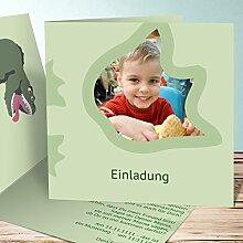 Einladungskarten Kindergeburtstag mit Foto, Dino-Freund 45 Karten, Quadratische Klappkarte 145x145 inkl. weiße Umschläge, Grün