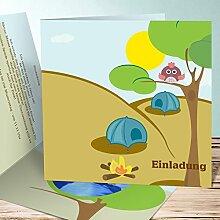 Einladungskarten Kindergeburtstag mit Foto, Lagerfeuer 45 Karten, Quadratische Klappkarte 145x145 inkl. weiße Umschläge, Blau