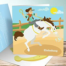 Einladungskarten Kindergeburtstag mit Foto, Pferdchen 2 200 Karten, Quadratische Klappkarte 145x145 inkl. weiße Umschläge, Weiß