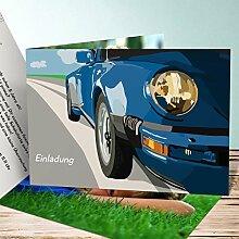 Einladungskarten Kindergeburtstag mit Foto, Rennsemmel 15 Karten, Horizontale Klappkarte 148x105 inkl. weiße Umschläge, Blau