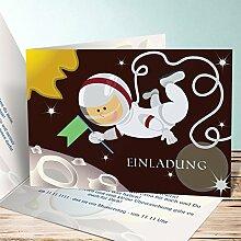 Einladungskarten Kindergeburtstag mit Foto, Weltall 2 200 Karten, Horizontale Klappkarte 148x105 inkl. weiße Umschläge, Ro