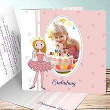 Einladungskarten Kindergeburtstag mit Foto, Zarenprinzessin 80 Karten, Quadratische Klappkarte 145x145 inkl. weiße Umschläge, Ro