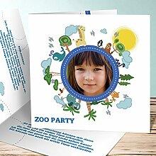 Einladungskarten Kindergeburtstag mit Foto, Zooausflug 120 Karten, Quadratische Klappkarte 145x145 inkl. weiße Umschläge, Blau