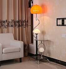 Einstellbar Einfache Stehlampe, Eisen modern New Chinese Stil Mit Couchtisch Lampen Double Switch High 167cm Elegant ( Farbe : Orange red )