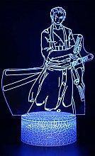 Einteilige bunte Anime 3D-Lampe mit