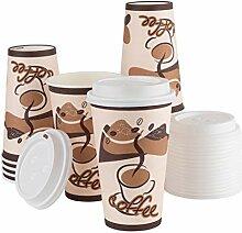 Einweg-Kaffeebecher mit Deckel, 16 Sets – 473