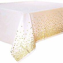 Einweg-Tischdecke in Weiß und Gold für